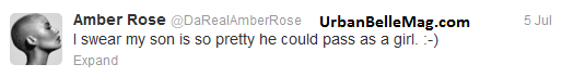 amber rose tweets about baby boy