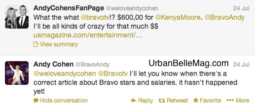 kenya moore lying about new salary