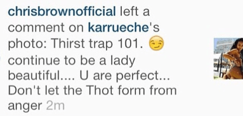 chris brown response to karrueche