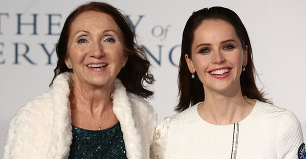 Jane Wilde Hawking (left) with Felicity Jones at the London premiere of 'The Theory of Everything'.