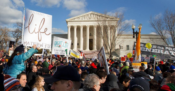 Pro-life demonstrators turned out en masse at the Supreme Court on Thursday for the annual March for Life rally to protest the landmark 1973 decision that declared a constitutional right to abortion in the U.S. (Associated Press)