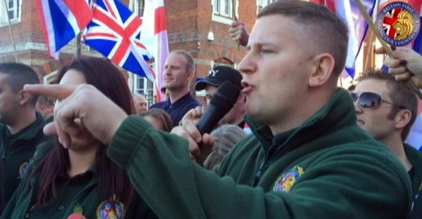 Britain First leader Paul Golding at a rally (BRITAIN FIRST)