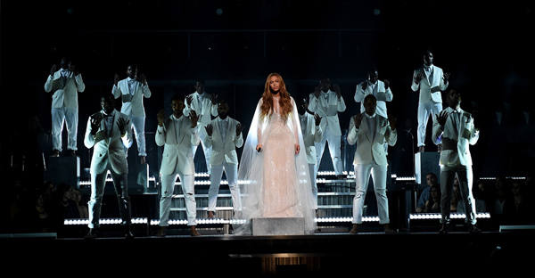 Recording Artist Beyonce performs onstage during The 57th Annual GRAMMY Awards at the STAPLES Center on February 8, 2015 in Los Angeles, California. (Larry Busacca/Getty Images North America)