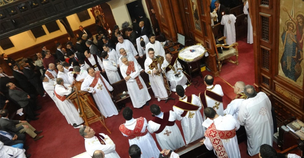 Egyptian Christmas eve service at St Mark's Coptic Orthodox Church in Kensington. (Eugenie Absalom/Eugenie Absalom/Demotix/Corbis)
