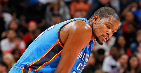 Kevin Durant #35 of the Oklahoma City Thunder reacts during the game against the Atlanta Hawks at Philips Arena on January 23, 2015 in Atlanta, Georgia. (Kevin C. Cox/Getty Images North America)