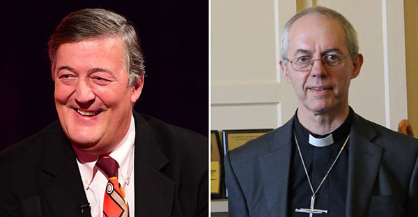 Left: Stephen Fry. Right: Justin Welby (AP/LAMBERTH PALACE)