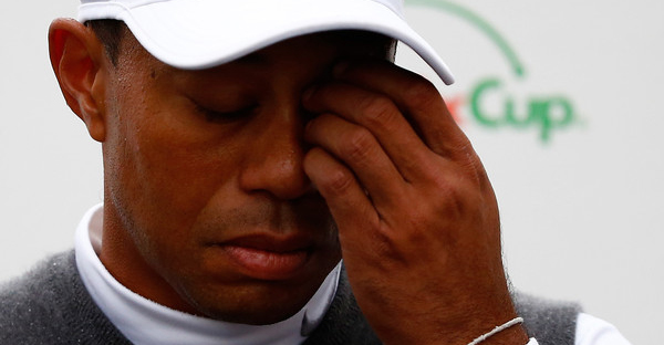 Tiger Woods speaks with the media after finishing 11 over-par for a total of 13 over-par after his second round of the Waste Management Phoenix Open at TPC Scottsdale on January 30, 2015 in Scottsdale, Arizona. (Sam Greenwood/Getty Images North America)