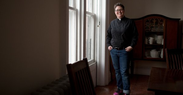The Rev. Ann Kansfield, shown in her apartment above Greenpoint Reformed Church in Brooklyn, will be sworn in on Tuesday. (Kirsten Luce for The New York Times)