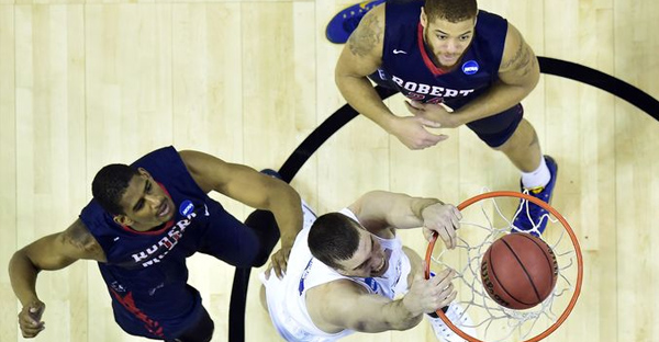 Duke center Marshall Plumlee dunks the ball against Robert Morris. (Bob Donnan, USA TODAY Sports)