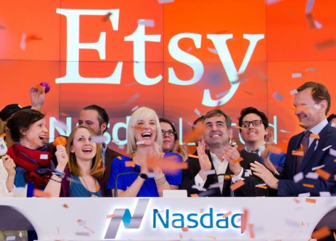 Chad Dickerson, center right, chief executive of Etsy, celebrated the online craft bazaar's Nasdaq debut on Thursday. (Mark Lennihan/Associated Press)