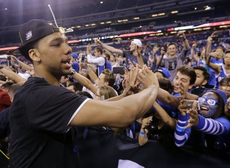 David J. Phillip / AP Duke's Jahlil Okafor celebrates with fans.