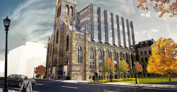 New Boston Ventures is proposing a modernist development in the South End on the site of the former Holy Trinity German Catholic Church in Boston's South End. (COURTESY OF FINEGOLD ALEXANDER ARCHITECTS)