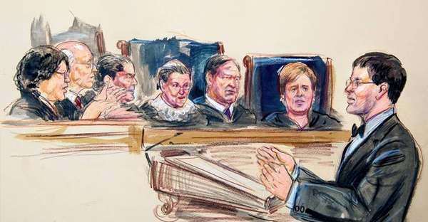 A rendering shows John Bursch, a former Michigan solicitor general, defending four states' laws during Tuesday's hearing on same-sex marriage at the Supreme Court in Washington. (DANA VERKOUTEREN/ASSOCIATED PRESS)