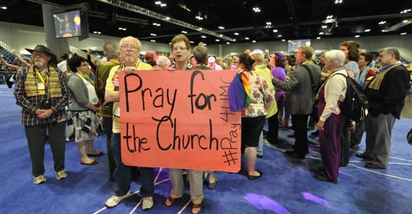 An alternative process for legislation related to the denomination's stance on homosexuality is aimed at fostering more open dialogue. Demonstrations in support of full inclusion of gays and lesbians in the life of church were held at the 2012 General Conference. (Kathleen Barry, UMNS)