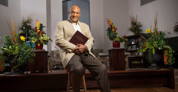 George Foreman, former heavyweight boxing champion, who is now a minister, poses for a portrait in the sanctuary of his church on Thursday, July 23, 2015, in Houston. (Brett Coomer / Houston Chronicle)
