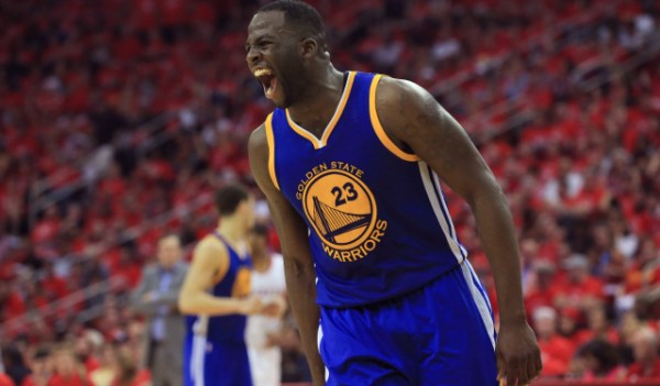 May 25, 2015; Houston, TX, USA; Golden State Warriors forward Draymond Green (23) reacts during the second half against the Houston Rockets in game four of the Western Conference Finals of the NBA Playoffs. at Toyota Center. Mandatory Credit: Thomas B. Shea-USA TODAY Sports