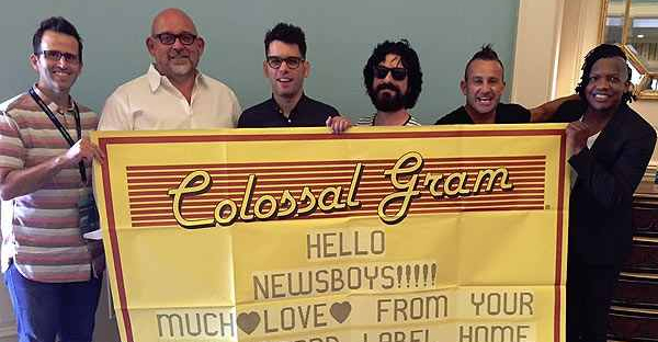 Pictured (l-r): FairTrade Services vice president of A&R James Rueger and FairTrade Services president/founder Jeff Moseley; Newsboys' Jeff Frankenstein, Jody Davis, Duncan Phillips and Michael Tait