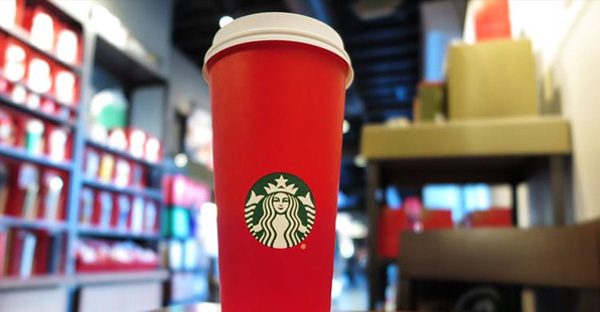 This year's Starbucks red holiday cup. (PHOTO: RUARIDH STEWART/ZUMA PRESS)