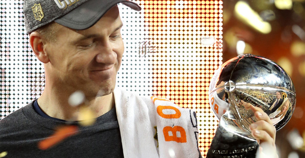 Peyton Manning #18 of the Denver Broncos celebrates with the Vince Lombardi Trophy after winning Super Bowl 50 at Levi's Stadium on February 7, 2016 in Santa Clara, California. The Denver Broncos defeated the Carolina Panthers 24-10. (Streeter Lecka/Getty Images North America)