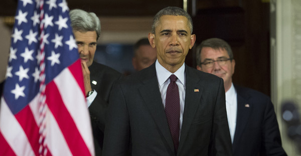 (L-R) Secretary of State John Kerry, U.S. President Barack Obama and Secretary of Defense Ash Carter arrive to make a statement after meeting with his National Security Council at the State Department, February 25, 2016 in Washington, DC. (Drew Angerer/Getty Images North America)