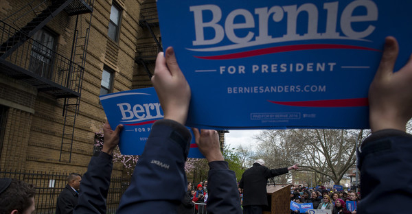 Democratic presidential candidate Sen. Bernie Sanders (D-VT) holds a rally outside his childhood home in Flatbush on April 8, 2016 in the Brooklyn borough of New York City. The New York Democratic primary is scheduled for April 19th. (Eric Thayer/Getty Images North America)
