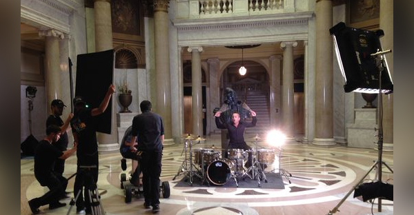 "Newsboys drummer Duncan Phillips performs during filming for the Christian movie ""God's Not Dead 2."" (Photo provided by the Newsboys)"