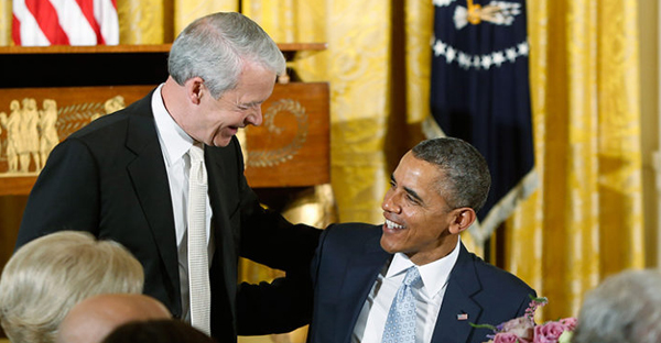 President Obama greets Joel Hunter, left, senior pastor of Northland Church in Longwood, Fla., after Hunter's prayer during an Easter prayer breakfast in the East Room of the White House in Washington on April 14, 2014. (Photo courtesy of REUTERS/Jonathan Ernst)