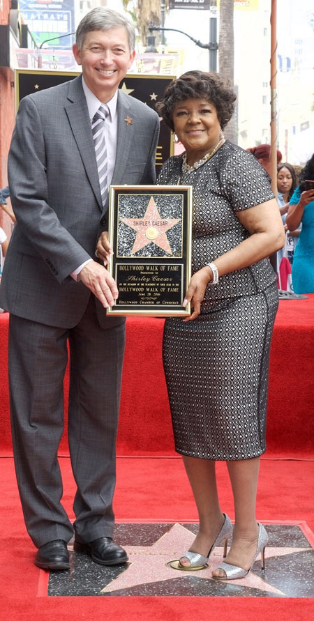 Hollywood Chamber President CEO Leron Gubler Celebrates With Shirley Caesar Honoring Her Hollywood Walk Of Fame Star