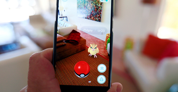 """The augmented reality mobile game """"Pokemon Go"""" by Nintendo is shown on a smartphone screen in this photo illustration taken in Palm Springs, California on July 11, 2016. (Photo courtesy of REUTERS/Sam Mircovich/Illustration)"""
