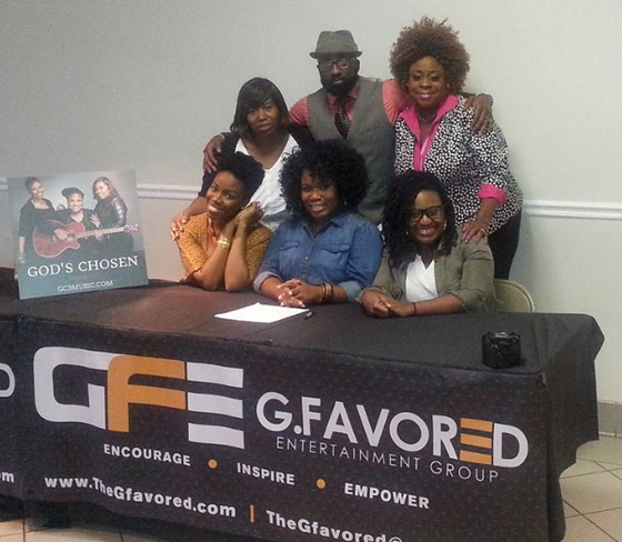 *pictured above: (l-r front) God's Chosen.  (l-r back) Winnetta Whittier - GC3 Co-Management, Glyne Griffith of G.Favored Ent., Toni Towns of C-Note Entertainment.