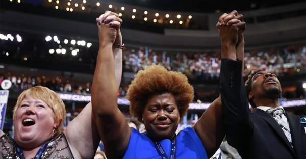 "The crowd at the Democratic National Convention in Philadelphia last month during an address by the Rev. William J. Barber II. ""We must shock this nation with the power of love,"" he told the delegates. (Credit: Damon Winter/The New York Times)"