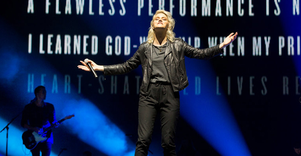 Taya Smith, a singer in Hillsong United, at the Barclays Center. The band is the subject of a new concert film. (Credit: Richard Termine for The New York Times)