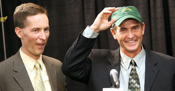 Former Baylor head football coach Art Briles, right, and former Baylor athletic director Ian McCaw in 2007. (AP Photo/Duane A. Laverty)
