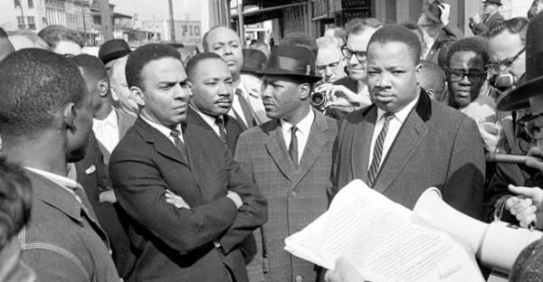 A March 9, 1965 file photo of Dr. Martin Luther King Jr. in Selma, Alabama. King learned from these progressive black preachers who came before him. (AP Photo, File)