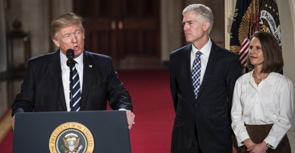 President Trump announces 10th U.S. Circuit Court of Appeals Judge Neil Gorsuch as his choice for Supreme Court Justice. Gorsuch was joined by his wife Louise Gorsuch in the East Room of the White House on Tuesday. (Jabin Botsford/The Washington Post)