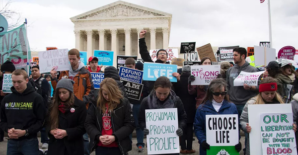 Pro-life activists gather in front of the US Supreme Court at the 44th annual March for Life on January 27, 2017 in Washington, DC. (JIM WATSON/AFP/Getty)