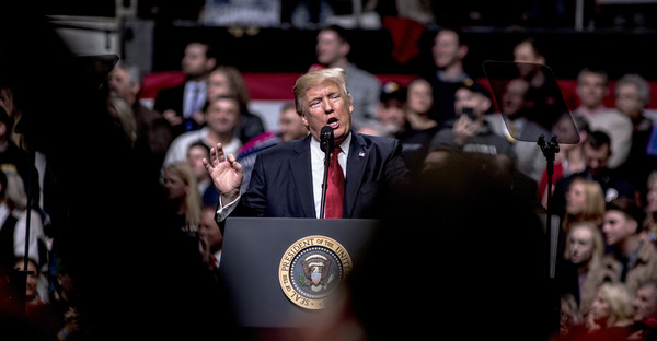 President Donald Trump speaks at a rally on March 15, 2017 in Nashville, Tennessee. During his speech Trump promised to repeal and replace Obamacare and also criticized the decision by a federal judge in Hawaii that halted the latest version of the travel ban. (Andrea Morales/Getty Images North America)