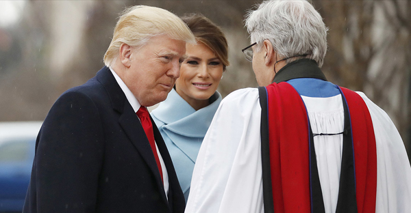 Then-President-elect Donald Trump and his wife, Melania, greet the Rev. Luis Leon as they arrive for a service at St. John's Episcopal Church across from the White House on Inauguration Day, Jan. 20. (AP Photo)