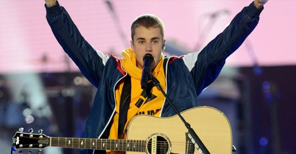 In this Sunday, June 4, 2017, handout photo provided by Dave Hogan for One Love Manchester, singer Justin Bieber performs at the One Love Manchester tribute concert in Manchester, north western England, Sunday, June 4, 2017. (AP)