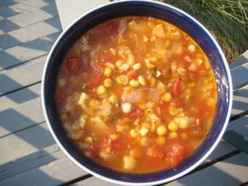 Summer Soup with Cauliflower, Split Peas & Corn | © Life Through the Kitchen Window.com