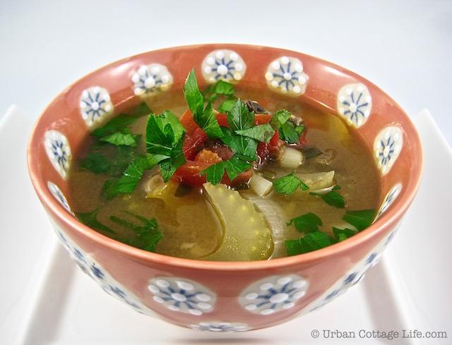 Celery & Mushroom Soup with Chickpeas | © UrbanCottageLife.com