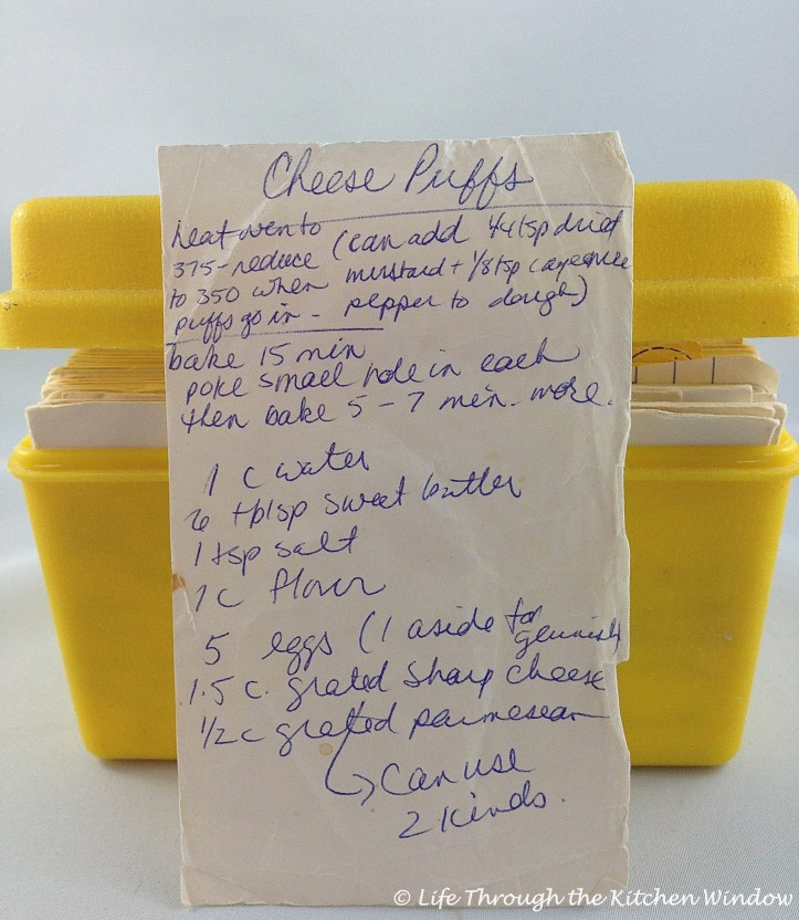My original recipe, stored crammed into my little yellow recipe box with other culinary treasures.
