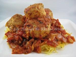 Spaghetti Squash & Meatballs   © Life Through the Kitchen Window.com