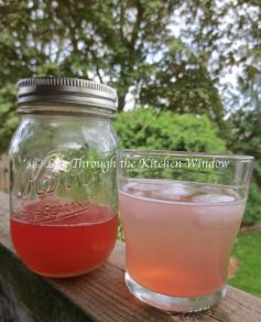 Rhubarb G&T with Jar of Rhubarb Syrup | © Life Through the Kitchen Window