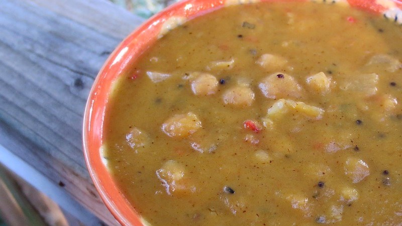 Curried Pumpkin Coconut Chickpea Soup ❘ © UrbanCottageLife.com