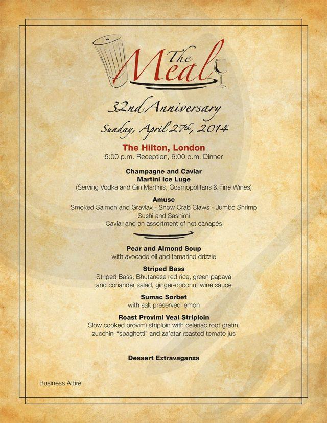 The Meal 2014: Menu