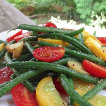 Green Bean Salad with Fingerling Potatoes, Yellow Zucchini & Cherry Tomatoes | © Life Through the Kitchen Window.com