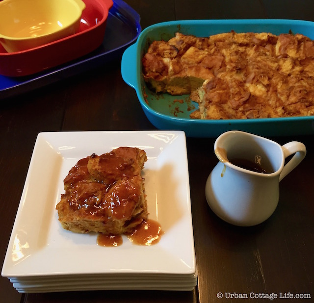 Pumpkin Maple Bread Pudding & Sweet Pumpkin Butter Sauce   Urban Cottage Life.com