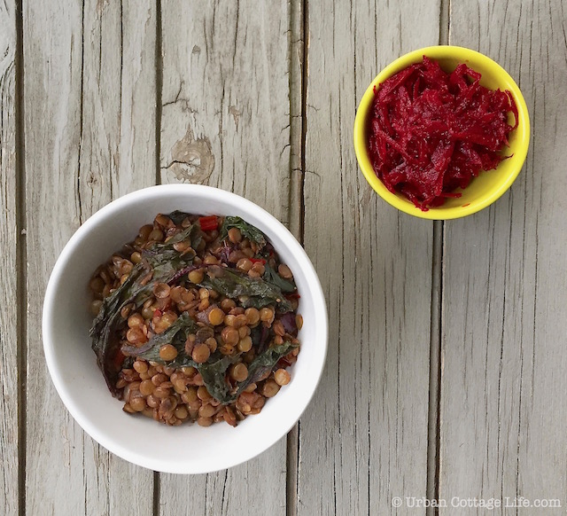 Lentils & Beet Greens with Quick-Pickled Beet |© Urban Cottage Life.com