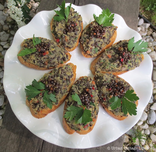 Beluga & Red Lentil Crostini | © UrbanCottageLife.com